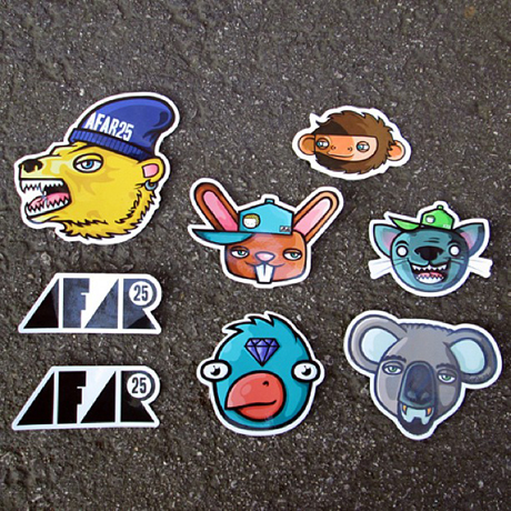 Afar25 sticker variety pack contents